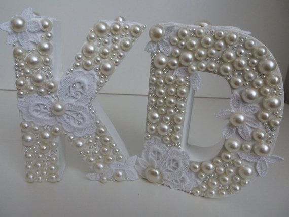 Wooden Letter D Letter K with White pearls lace  by ArtBargainz
