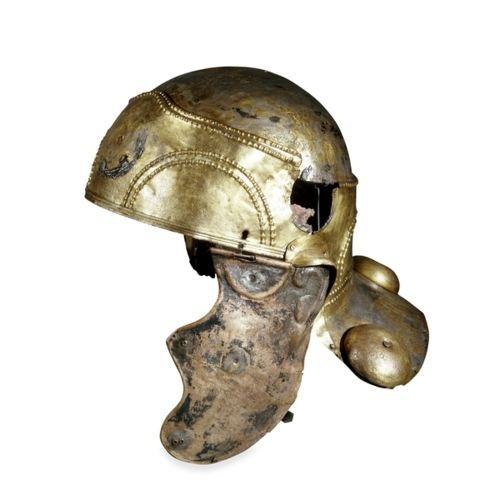 Cavalry combat helmet --   Roman Britain, 1st century AD --   From Witcham Gravel, Ely, Cambridgeshire -- The British Museum