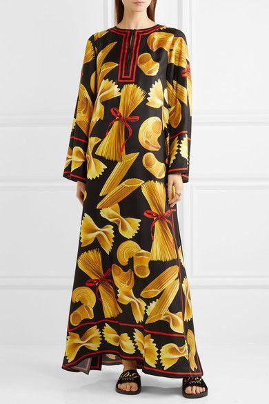 Dolce & Gabbana - Printed Silk-twill Kaftan - Black - IT