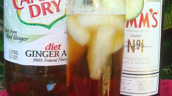 PIMM'S CUP  ~2 oz Pimm's No. 1™ (gin-based liqueur)  ~3 oz Ginger Ale  >Garnish: Lemon slice, Cucumber slice