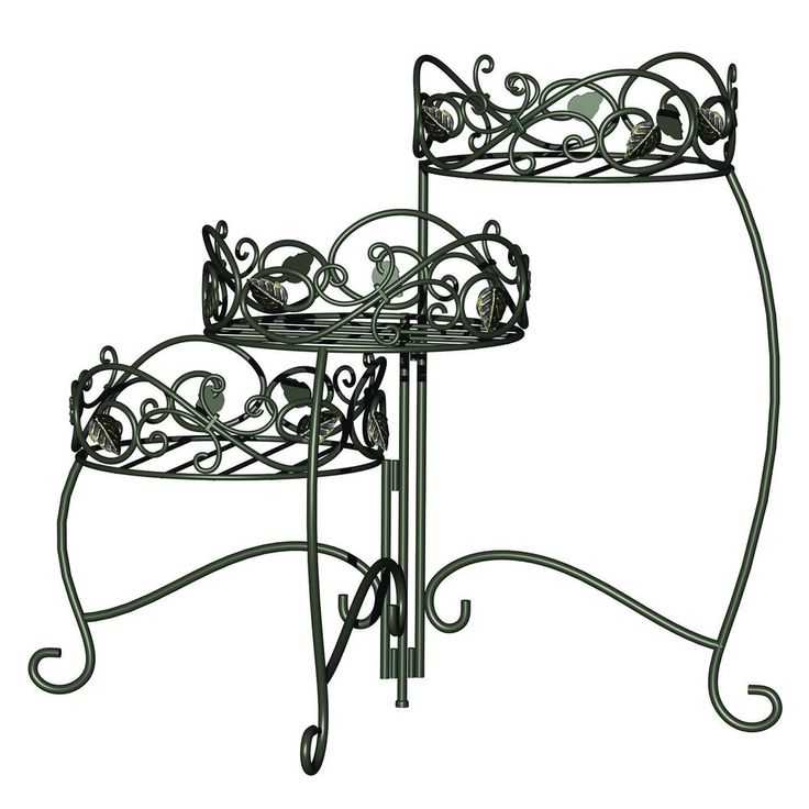 A stunning display for your potted plants. This unique 3-tiered Scroll & Ivy Plant Stand offers tremendous value and versatility. Three moving 8 Inches diameter potting areas allow for different positioning of the plants.