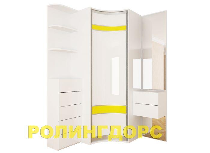 Белый глянцевый шкаф-купе на заказ rollingdoors.ru.