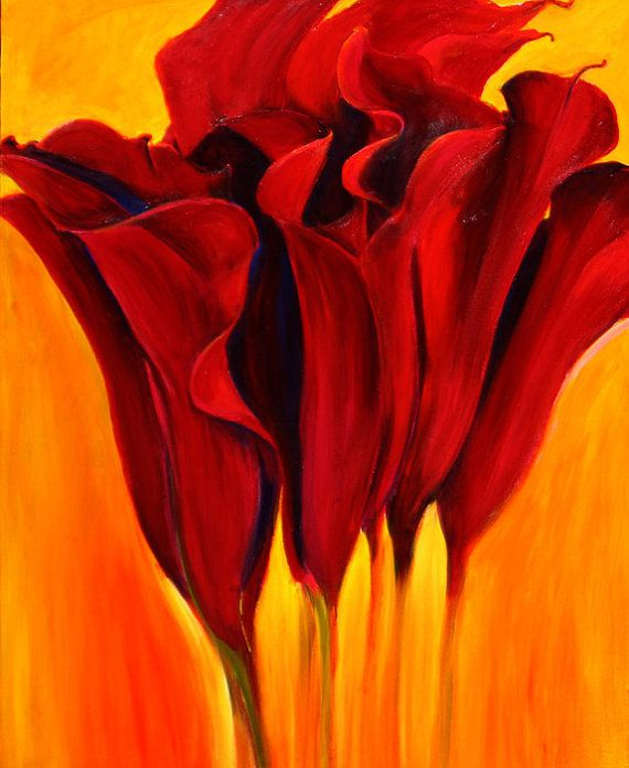 calla lily flower painting large red flower limited edition giclee print on canvas 16x20