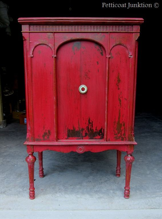 Red Painted cabinet using Miss Mustard Seed's Milk Paint in Tricycle, Petticoat Junktion