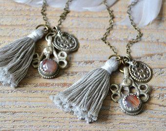 Boheemse kwast ketting, zigeuner boho hippie sieraden, klosje sieraden, OmSaha, gift voor haar