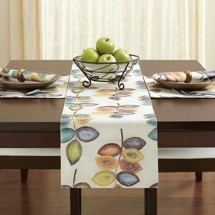Croscill Mosaic Leaves Table Runner 14x90 Neutral Tones Fall Thanksgiving Leaf Runners
