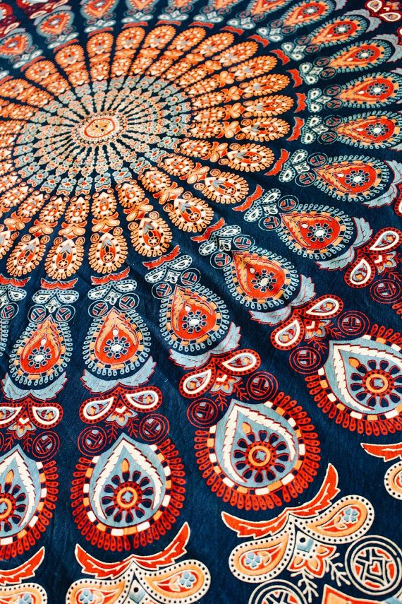 Beautiful bohemian Mandala sage green blue yellow wall hanging tapestry summer beach blanket