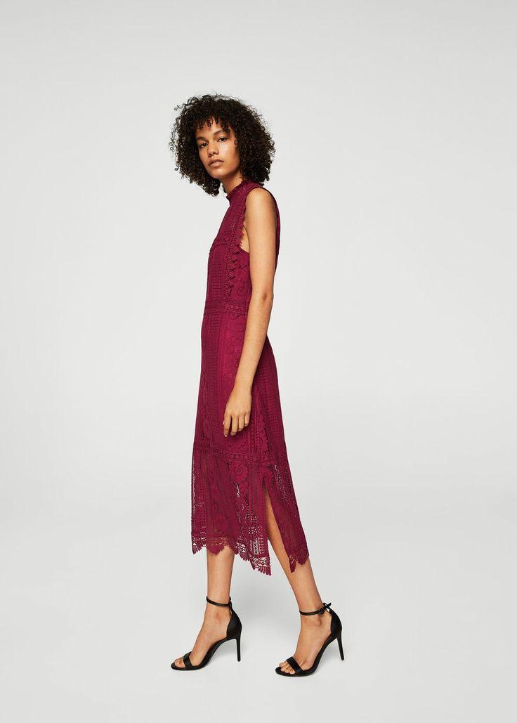 Guipure cotton dress - f foEvening Women | MANGO USA