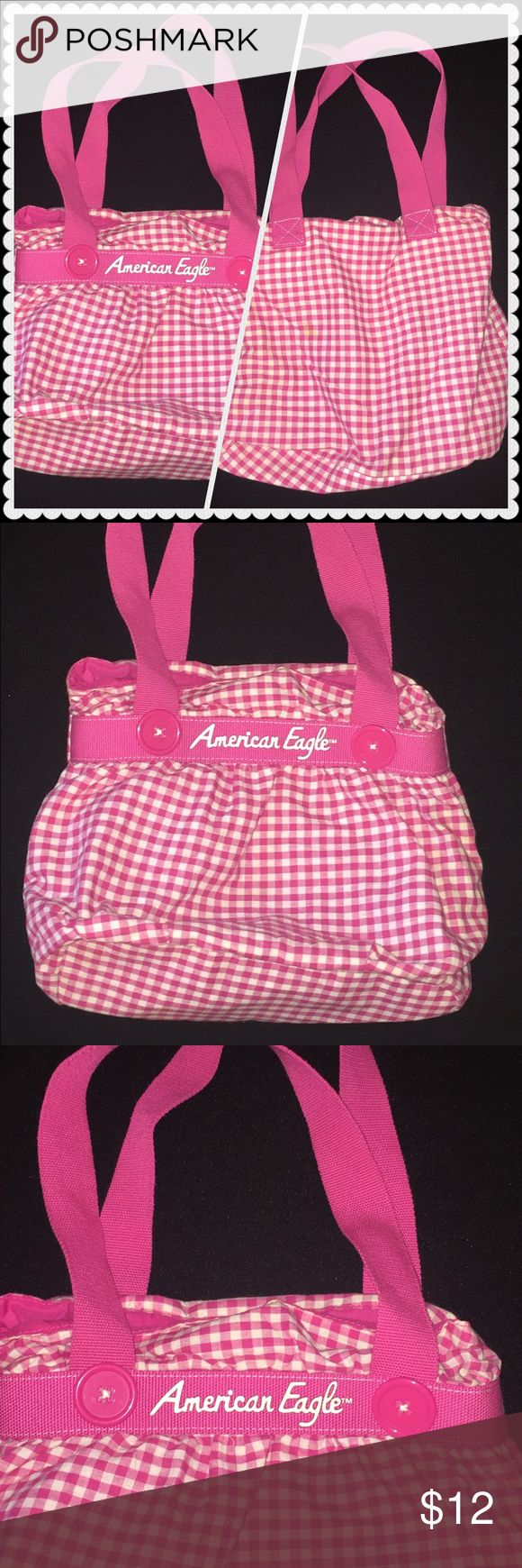 """American Eagle tote Pink American Eagle tote, super cute tote! Very cute!Has pockets on  inside for a Wallet cell phones etc. Very roomy.  Width: 14"""" length: 12"""" used good condition American Eagle Outfitters Bags Totes"""