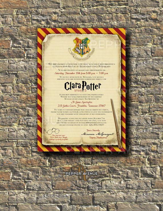 Harry Potter Invitation Harry Ron Hermione Hogwarts Invitation