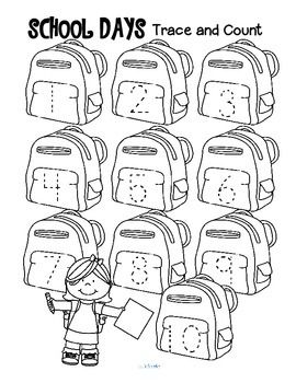 ***FREE*** Three school-themed tracing and counting pages for early learners…