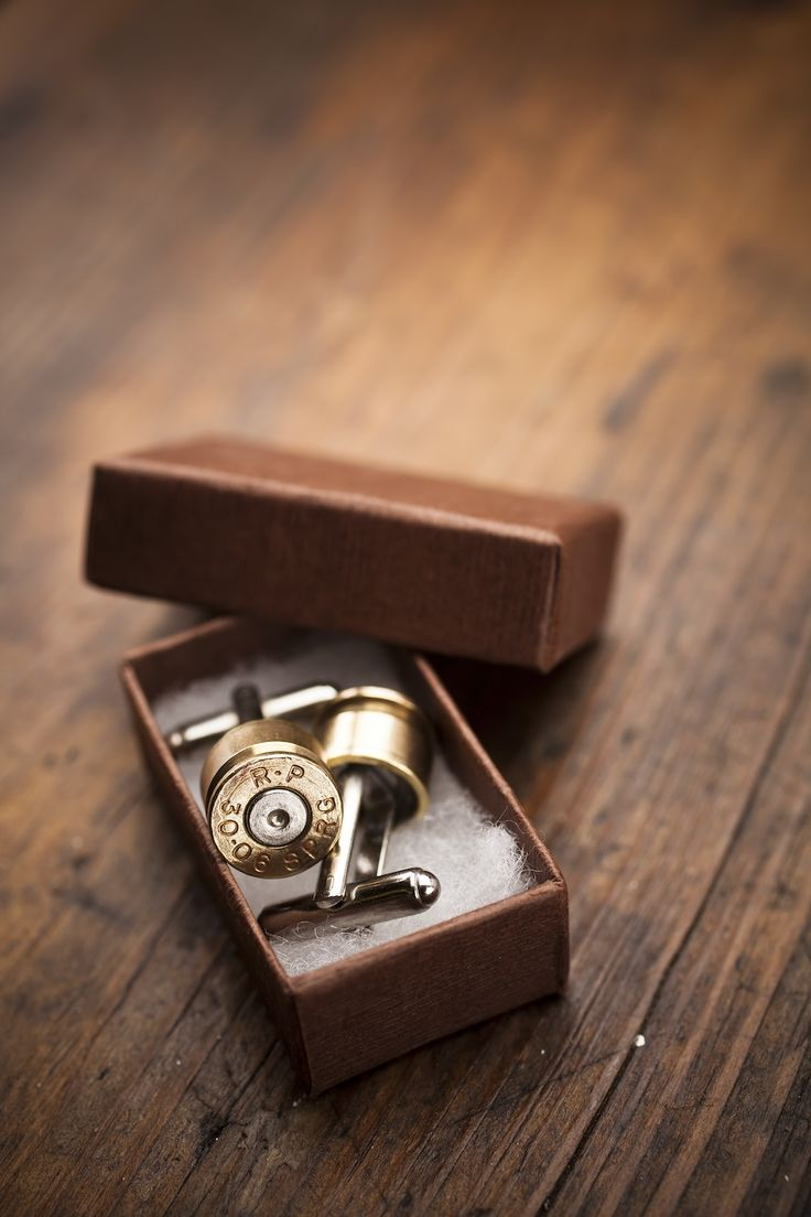 Bullet Cufflinks - Stay true to your southern roots even while wearing a suit with these elegant Bullet Cufflinks crafted by hand using genuine fired bullet casings. Perfect gift for a polished southern gentleman and very popular to give as groomsmen gifts.