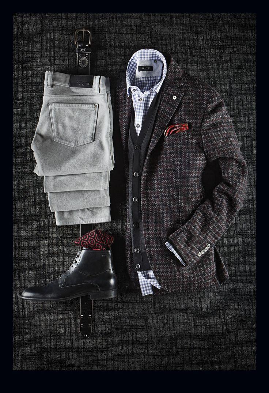 L.B.M. 1911 Exploded Houndstooth Wool/Cotton/Silk Jacket: $850  Zegna Merino Wool Cardigan: $635 Zegna Moleskin Cotton Pants: $350 Sand Gingham Shirt: $225 Bill Lavin Belt: $148 Boss Black Fur-Lined Boots: $395 Marcoliani Pattern Wool Socks: $28 Braemore Wool Pocket Square: $65