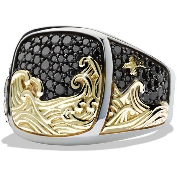 David Yurman Waves Signet Ring with 18K Gold and Black Diamonds (€2.155) ❤ liked on Polyvore featuring men's fashion, men's jewelry and men's rings