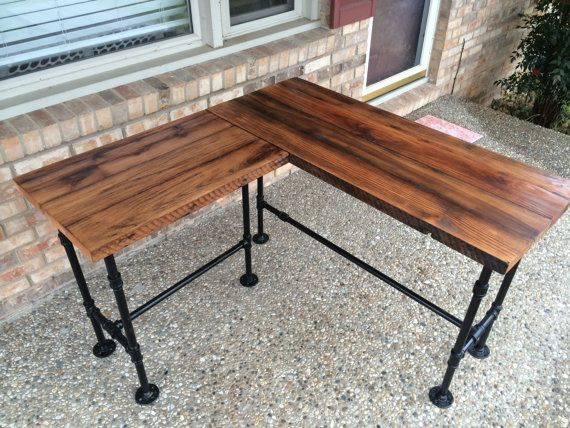 Rustic Reclaimed Barn Wood L Desk Table   Solid Oak W/ 28 Black Iron Pipe  Legs. This Unique Item Was Created Using Salvaged Oak From An Old Kentucky