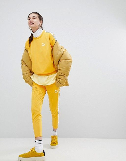 bf6174b3bc1 Puma   Puma Exclusive To ASOS Sweatshirt With Taped Side Stripe In Yellow
