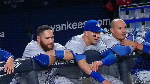Troy Tulowitzki and Ryan Goins are pretty excited about that 9th inning rally! Toronto Blue Jays. Russell Martin. MLB. Baseball.