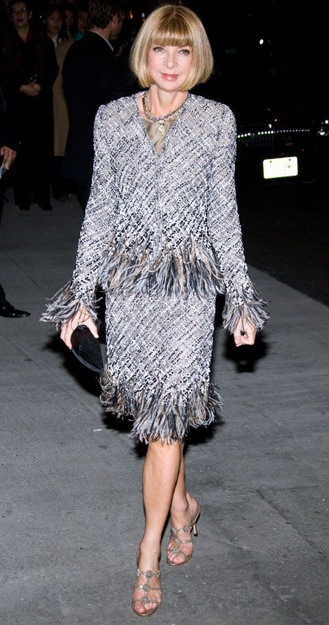 Anna Wintour in Chanel haute couture - Ok I know she can unhinge her jaw like a python (not classy behaviour!)  but she rocks Chanel