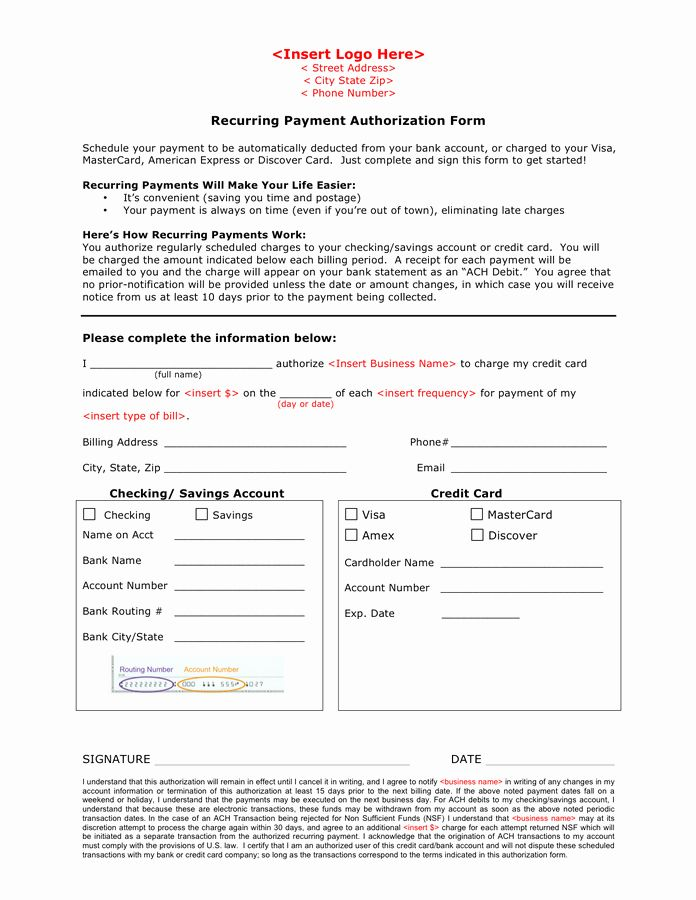 Payment Authorization Form Template New Recurring Payment Authorization Form In Word And Pdf Forma Newsletter Template Free Email Newsletter Template Templates