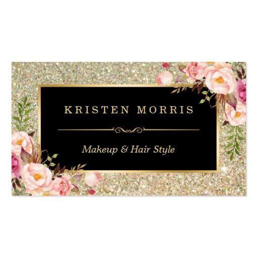 Envoltório floral do cabeleireiro do maquilhador cartão de visita