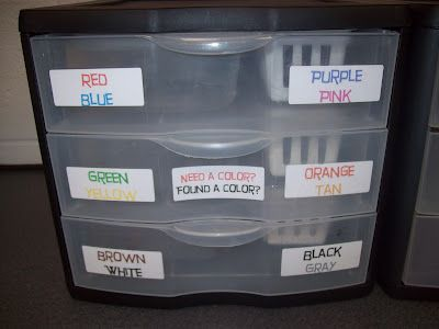 Need a Color/Found a Crayon    When there are crayons found on the floor, the students simply put them in the bin.  Then whenever someone needs a color they can just come to the bin and get the color they need.  This helps prevent a big interruption when a student needs a certain color crayon.