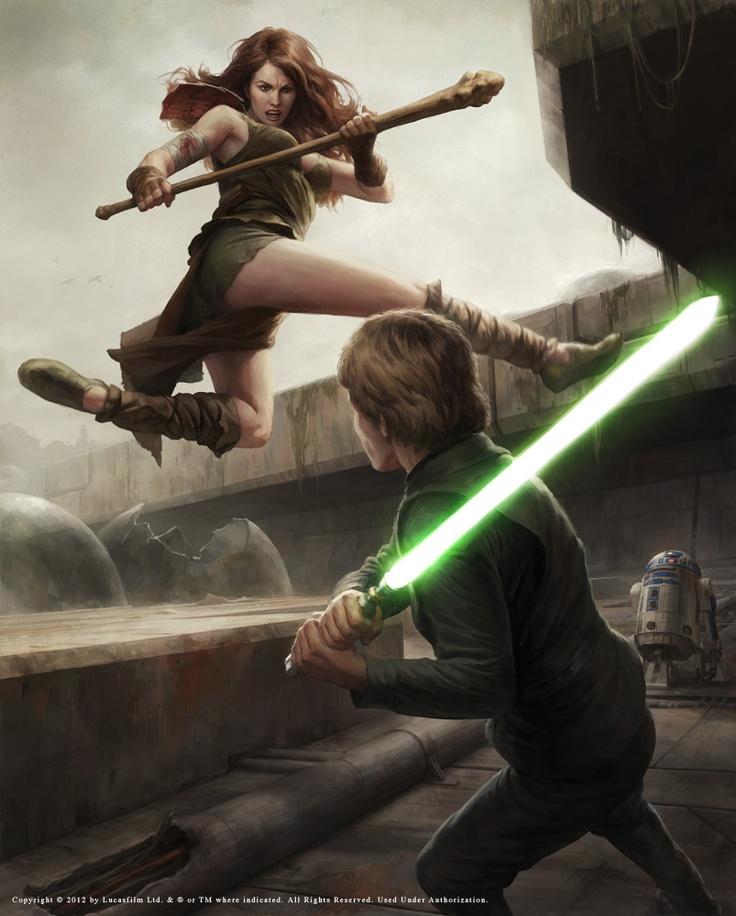 Courtship of Princess Leia scene by Darren Tan featuring Luke Skyalker and Teneniel Djo
