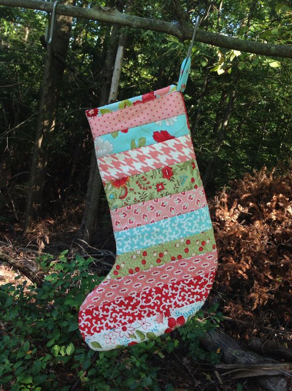 Scrappy Christmas Stocking  quilted  Bliss by ModernMaterialGirl, $26.00