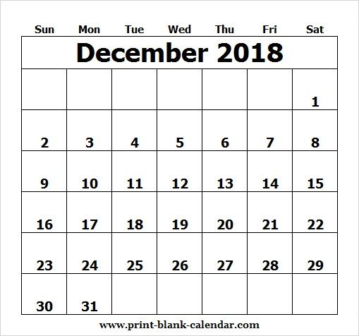 Editable December Calendar 2018 Image to Print Printblank