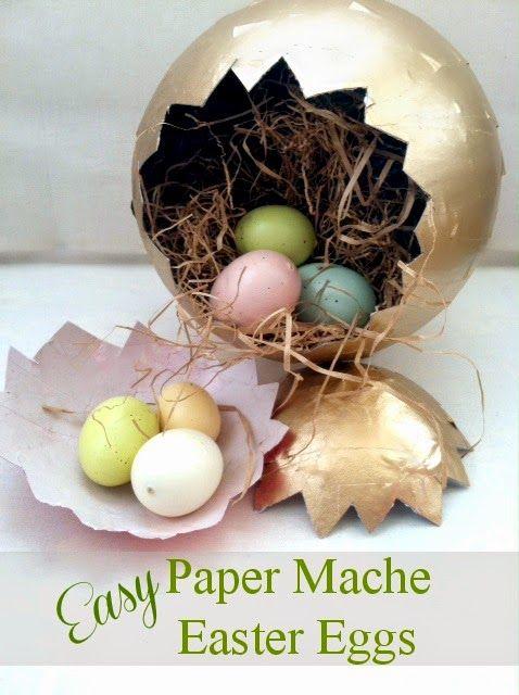 Easy-to-make elegant paper mache Easter eggs!