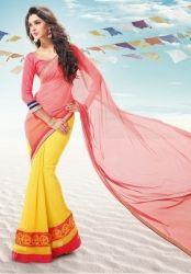 Yellow And Peach R Rajkumar Glorious Half And Half Saree