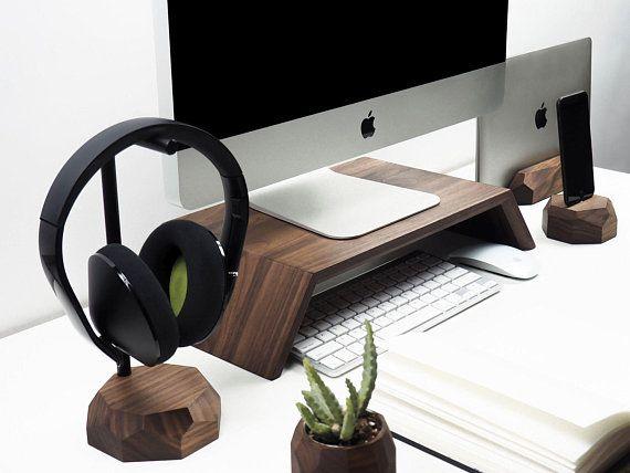 Walnut Desk Setup Wooden Collection Tidy Desk Organization Etsy