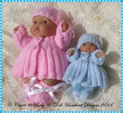 """Pleated Coat Set for 5 & 8"""" Chubby Berenguer dolls-babydoll handknit designs, berenguer, lots to love, knitting, knitting pattern"""