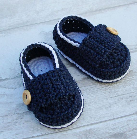 Baby boy booties little loafers Crochet baby shoes navy ...