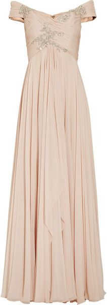 Off the shoulder Embellished Silk chiffon Marchesa gown. ......lovely..♥