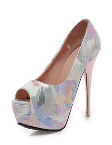 2659757e28e Nude Platform Heels Women Dress Shoes Peep Toe Printed High Heels