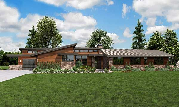 Stunning Contemporary Ranch Home Plan 69510am Contemporary Northwest Ranch Luxury Contemporary House Exterior Ranch Style Homes Ranch Style House Plans