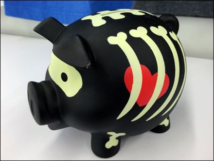 Goth Pig Piggy Bank Celebrates Halloween