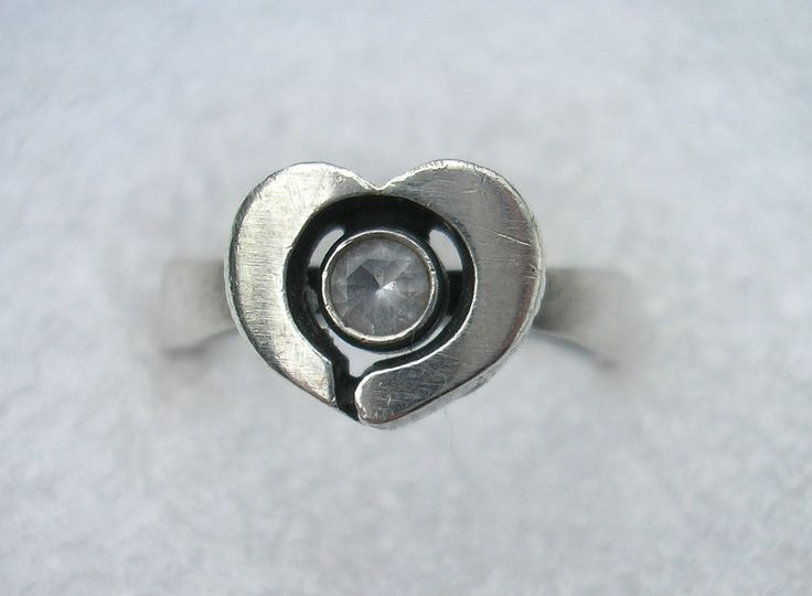 Sten & Laine, heart shaped sterling silver and crystal ring, 1999. #Finland