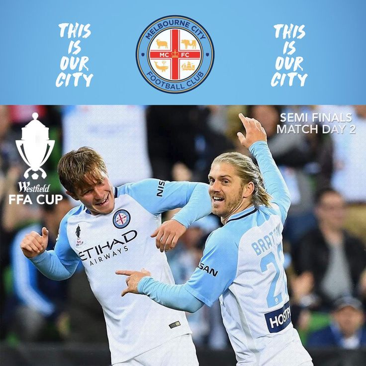 Melbourne City celebrate after beating Melbourne Victory in the #FFACup Semi-Final #melbderby #melbournecity