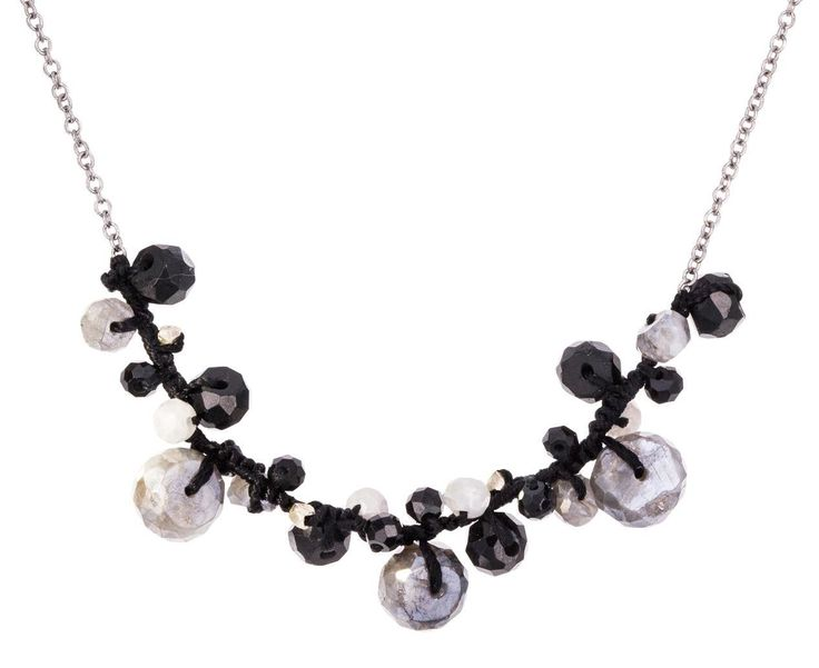 Danielle Welmond Silverite and Black Spinel Beaded Necklace