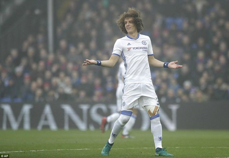 Chelsea's Brazilian centre back David Luiz remonstrates during the first-half of Saturday afternoon's early top-flight fixture