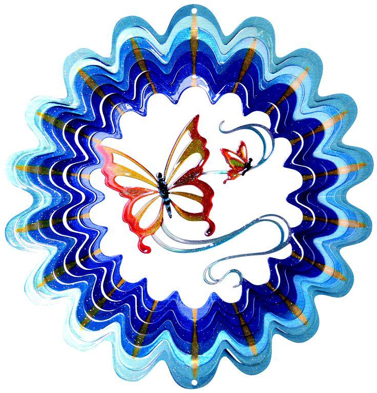 Kleurige windspinner van plaatstaal met fladderende vlinders. Online te bestellen bij de webwinkel met het grootste assortiment.