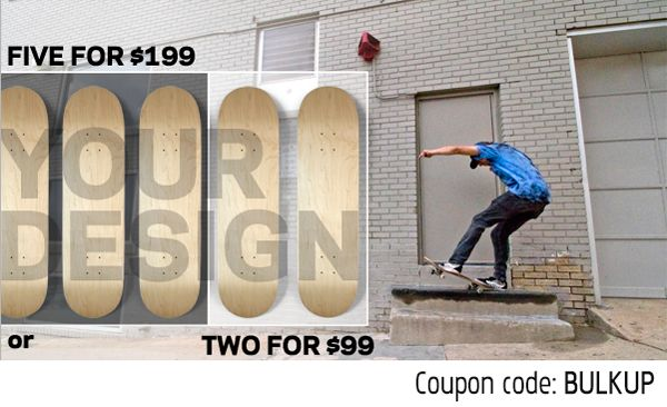SPRING SKATEBOARD SALE at www.BoardPusher.com! Get 2 popsicle decks for $99 or 5 decks for $199 with coupon code BULKUP