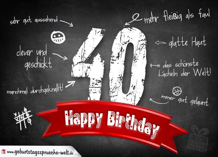 Komplimente Geburtstagskarte Zum 40. Geburtstag Happy Birthday    Geburtstagssprüche Welt