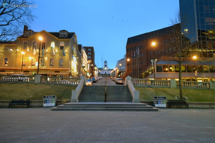Halifax at Night - Grand Parade Square looking towards the old clock and Citadel Hill