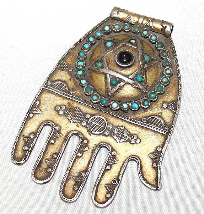 Turkmen Antique Judaica Sterling Silver Hamsa Charm Kamea