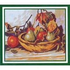 Collection D'Art KA57 Basket of Apples and Pears Tapestry Canvas