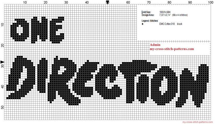 Logo de One Direction grille motif point de croix une couleurs noir