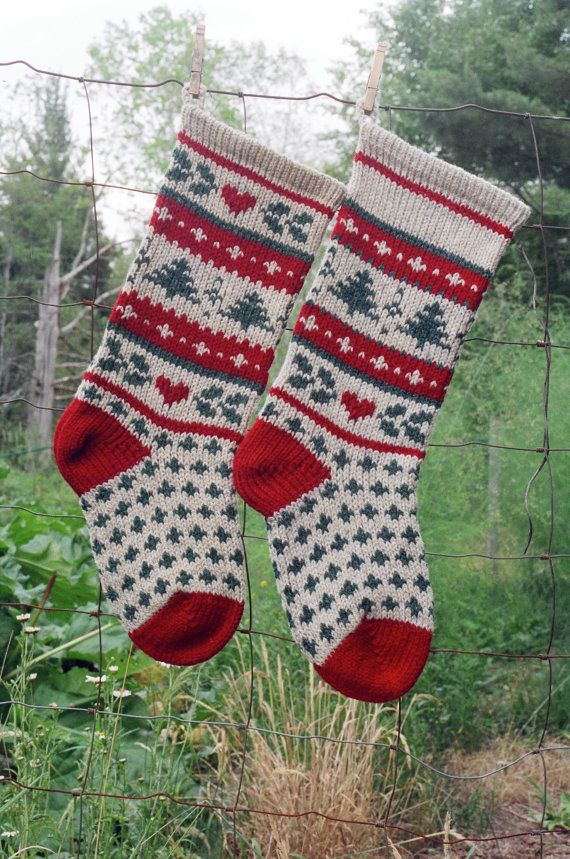 instant download christmas stocking knitting pattern evergreen