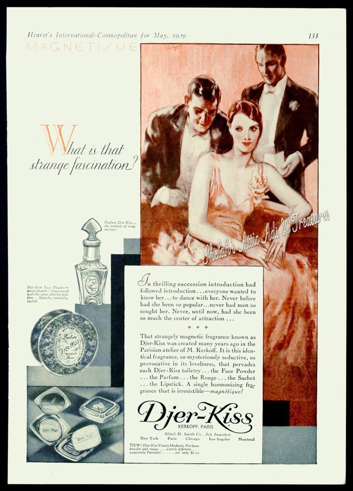 RARE 1929 DJER-KISS Parfum Perfume Toiletries Face Powder Art Deco Vtg PRINT AD #DjerKiss